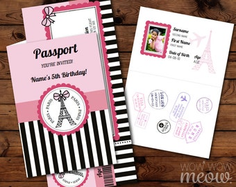PARIS Invite Passport Invitation Ticket INSTANT DOWNLOAD Pink Girls French Birthday Party Personalize Editable for Kids Children Printable
