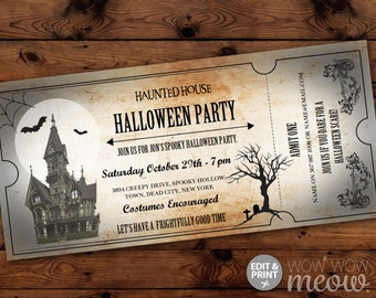 Halloween Invitations Haunted House Tickets Invites Party Printable INSTANT DOWNLOAD Bat Spooky Scare Personalized Editable Edit & Print