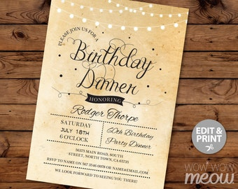 Dinner party invite etsy elegant birthday dinner party invite instant download cocktail edit any age rustic paper vintage gold lights stopboris Images