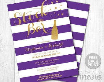 Stock The Bar Invitations Engagement Invite Couples Shower INSTANT DOWNLOAD Purple Champagne Gold Bubble Party Personalize Edit Printable