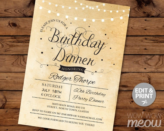 Elegant birthday dinner party invite instant download cocktail elegant birthday dinner party invite instant download cocktail edit any age rustic paper vintage gold lights personalize editable printable stopboris Images
