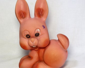 Vintage Rubber Rabbit Toy. Cartoon, Animated Cartoon. Soviet Era Rubber Squeaky Toy Rabbit. Shelf Decoration. Country Home Decor