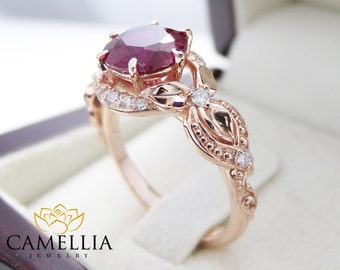 14K Rose Gold Red Ruby Engagement Ring Pigeon Blood Red Ruby Ring Unique Engagement Ring Art Deco Ruby Ring