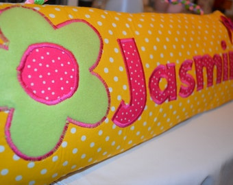 Name Pillow, Children's Personalised Pillow, Personalised Cushion, Name Cushion, Customised Kids Cushion, Yellow Cushion for Girl