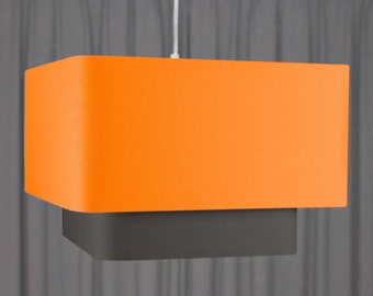 Double square lampshade 'Orange/Charcoal 50'