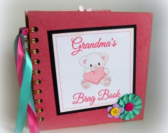 GRANDMA'S Brag Book photo album premade scrapbook keepsake new baby girl book