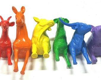 Farm Animal Magnets, Rainbow Animal Magnets, Animal Magnets, Rainbow Farm, Rainbow Magnets - SET OF 6