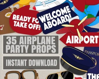 35 Pilot Party Props, Airplane Party DIY Printable Photo booth props, aeroplane party decor, aviation party decor, pilot photobooth props