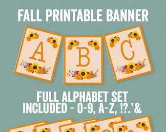 Printable fall party banner, fall party decor, orange floral bunting, printable alphabet bunting, autumn party decoration, diy download