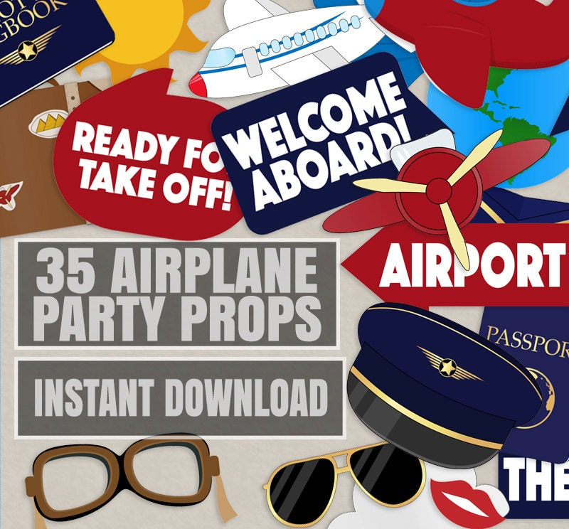 35 Pilot Party Props Airplane Party DIY Printable Photo Booth