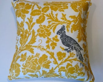 """18"""" Decorative Pillow Corded Cover - Grey Bird on Yellow 18x18"""