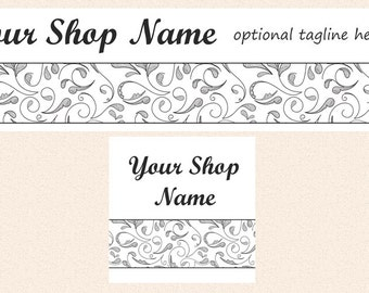 Grey Swirls Etsy Shop Banner and Shop Icon - Shop Cover and Icon