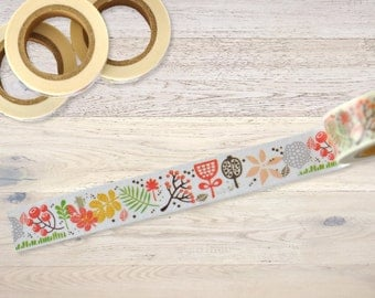 Masking tape with leaves and twigs Washi Tape