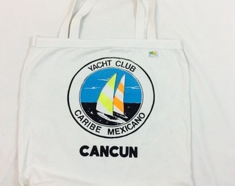 Vintage Canvas tote neon canvas tote classic canvas tote bag vintsge canvas bag Mexican tote bag retro tote bag vintage cancun yach club