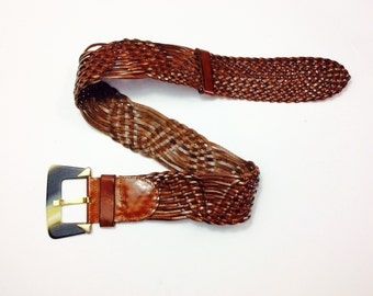 Vintage leather belt brown leather belt woven leather belt one size fits all belt wide leather belt knotted leather belt knotted leather