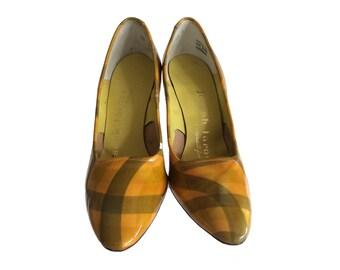Vintage Pumps - Womens Size 5.5 - 1960s Shoes Joseph Larose Yellow Pumps - Yellow Plaid Patent Leather High Heels