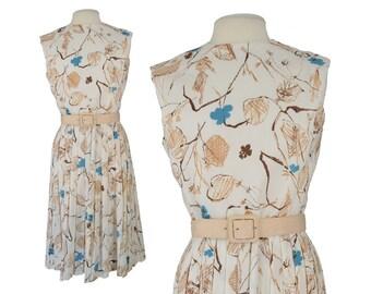Vintage Dress, 1950s Dress, 50s Dress, Vintage Floral Dress, 50s Swing Dress, Garden Party Dress, 50s Floral Dress, Pleated Dress, Medium