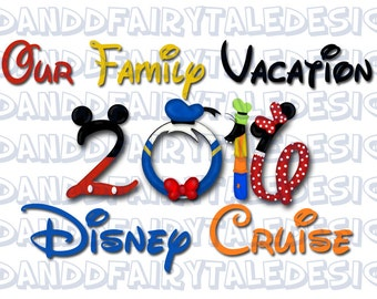 Our Disney Cruise Family Vacation 2016 Themed Digital Art Letters Printable DIY - Instant Download