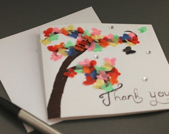 Tissue butterflies on a tree - handmade thank you card