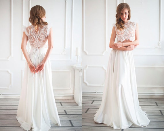 Two Piece Wedding Dress Wedding Skirt Boho Wedding Dress