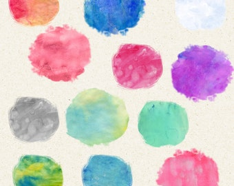 Round Watercolor Clip Art, 12 Round Watercolor Splotches, Watercolor Texture Paper,  Digital Papers,  Background texture,Watercolor Strokes
