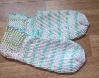 Knitted slippers slippers / socks White with lightblue/lightgreen streaks
