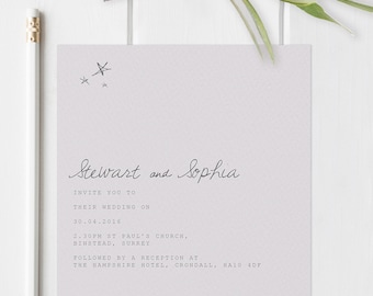 Boho wedding invites wth star illustrated details. Modern wedding invites. Square invitations.