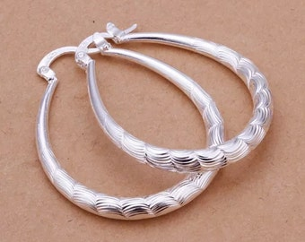Sterling Silver Overlay Hoop Earrings