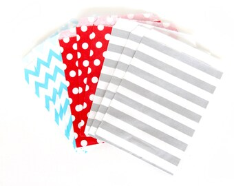 Evening Sparklers Treat Bags in Chevron Dot and Stripe , Red White Blue Treat Bags, Silver Popcorn Glitter Girls 4th of July Decor