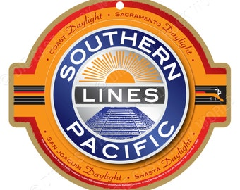 Southern Pacific Lines Logo Wood Plaque / Sign