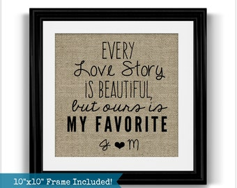 Every Love Story Framed Burlap Print   Valentines Day Love Gift   Love Arts   Valentines Day Gift   Gift for Husband   Gift for Wife