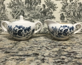 Vintage Blue and White Creamer and Sugar Bowl with Lid