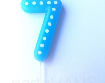 Number 7 Birthday Candles, 7, 70, Numbers, Blue, Green, Orange, Red, Yellow, 7th Birthday, Seven, Candles, Boy, Girl, Birthday, Polka Dots