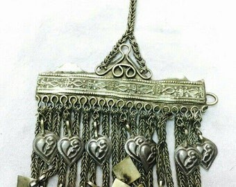 Afghan Glass Beads Dangling Tassels Headdress Ethnic Vintage Nomadic Kuchi Banjara Gypsy Middle Eastern Silver Plated Belly Dance Jewelry