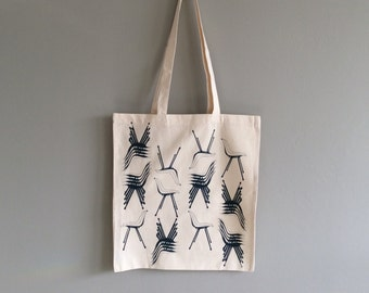 Screen Printed Tote Bag - Polyprop Chairs in Navy