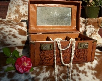 Vintage Tooled Leather Pymsa Train Case for Cosmetics or Jewelry- with key!