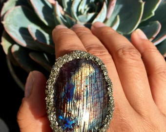 Labradorite and Pyrite Ring