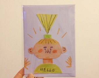 HELLO collage card