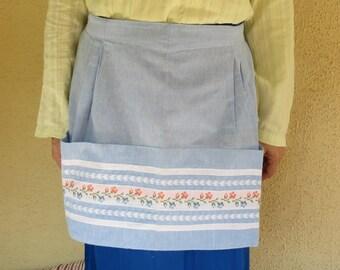 Half apron vintage greek/Traditional  Cretan Blue Apron/Loom weaving cotton embroidery/ Vintage item 1970s\half apron 2 pockets