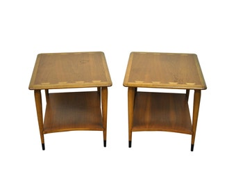 Vintage Pair of Lane Acclaim Mid Century Danish Modern Dovetail End Side Tables