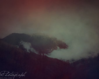 "Fine Art Photography, Dark Soul, Haunting Landscape, Wall Decor, Nature Art, Mountain Fog- ""Through the Devil's Eyes"""