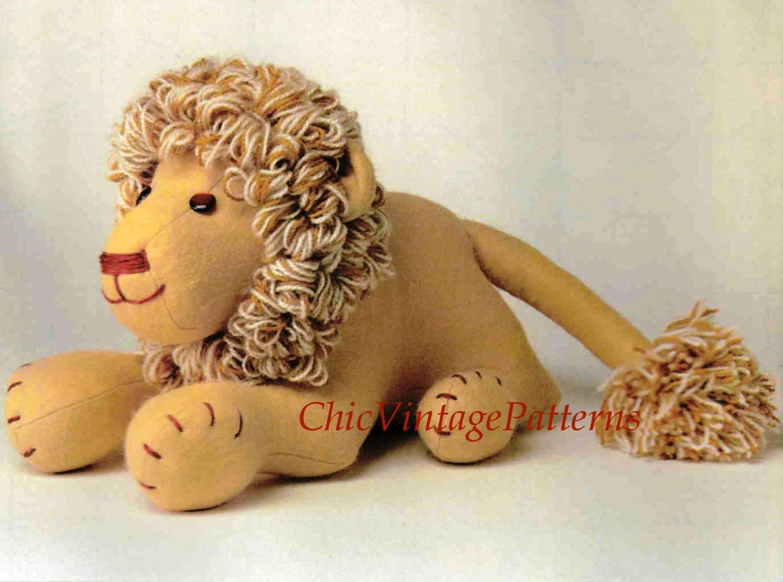 Soft Toy Patterns : Lion toy pattern soft vintage pdf sewing