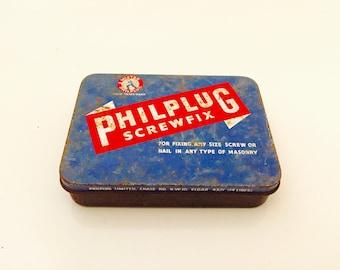 Vintage Philplug Screwfix Small Hinged Tin.