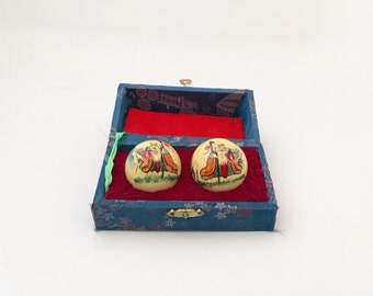 Chinese VTG Meditation Balls With Chines, boading balls with Handpainted Designs.