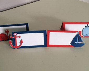12 Nautical Place Cards | Nautical Food Label Tents | Nautical Party Decor | Nautical Place Cards | Nautical Party Supplies