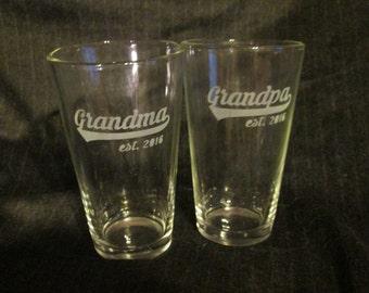 Grandma / Grandpa Pint Glass Set of 2