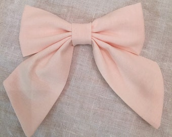 The Charlotte Sailor Bow - Hair Bow - Toddler/Girl - Cotton - Soft/light/pale Pink