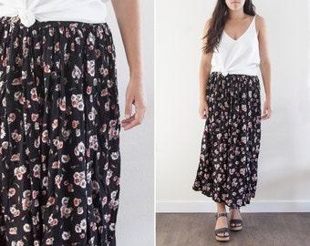Vintage Boho Floral Maxi Skirt // Black Floral Skirt // Black Hippie Skirt // Boho Maxi Dress // Pink Floral Skirt