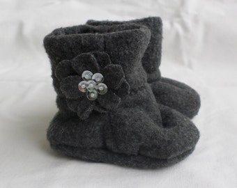 Gray Sequined Fleece Baby Girl Booties