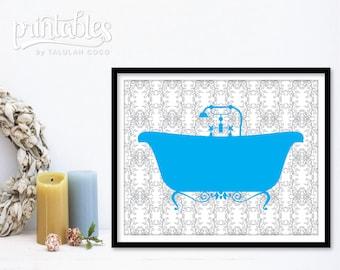 Vintage Bathtub Art - Printable Poster - Blue Bathroom Decor - DIY Bath Tub Art Print - Bath Print - Victorian Shower Sign Instant Download